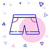 istock Line Swimming trunks icon isolated on white background. Colorful outline concept. Vector Illustration 1257756709