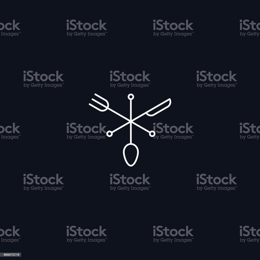 Line Symbol, Fork, spoon and knife, vector design element vector art illustration