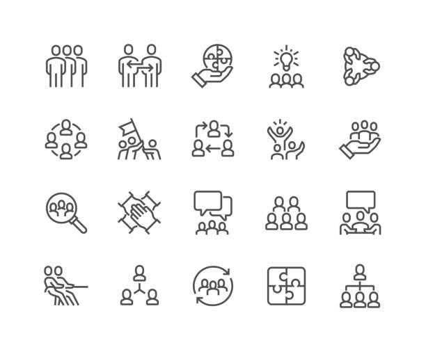 ikony pracy zespołu liniowego - ruch stock illustrations