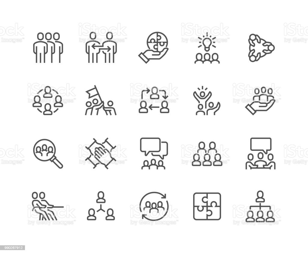 Line Team Work Icons - illustrazione arte vettoriale