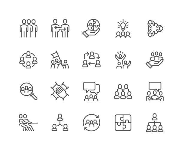 Line Team Work Icons Simple Set of Team Work Related Vector Line Icons. Contains such Icons as Collaboration, Research, Meeting and more. Editable Stroke. 48x48 Pixel Perfect. icon stock illustrations