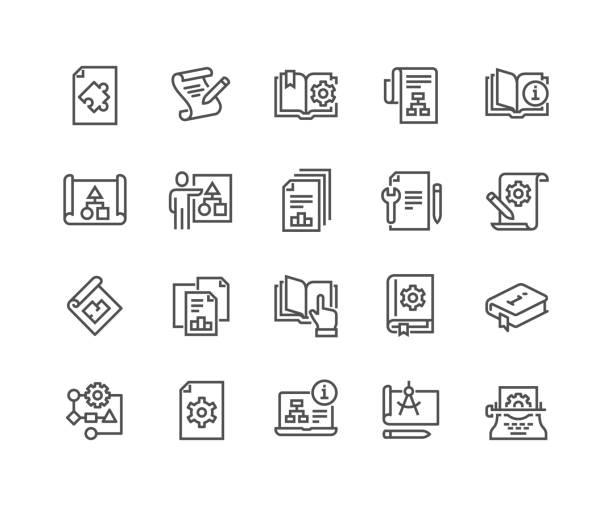 illustrazioni stock, clip art, cartoni animati e icone di tendenza di icone della documentazione tecnica di linea - guida turistica professione