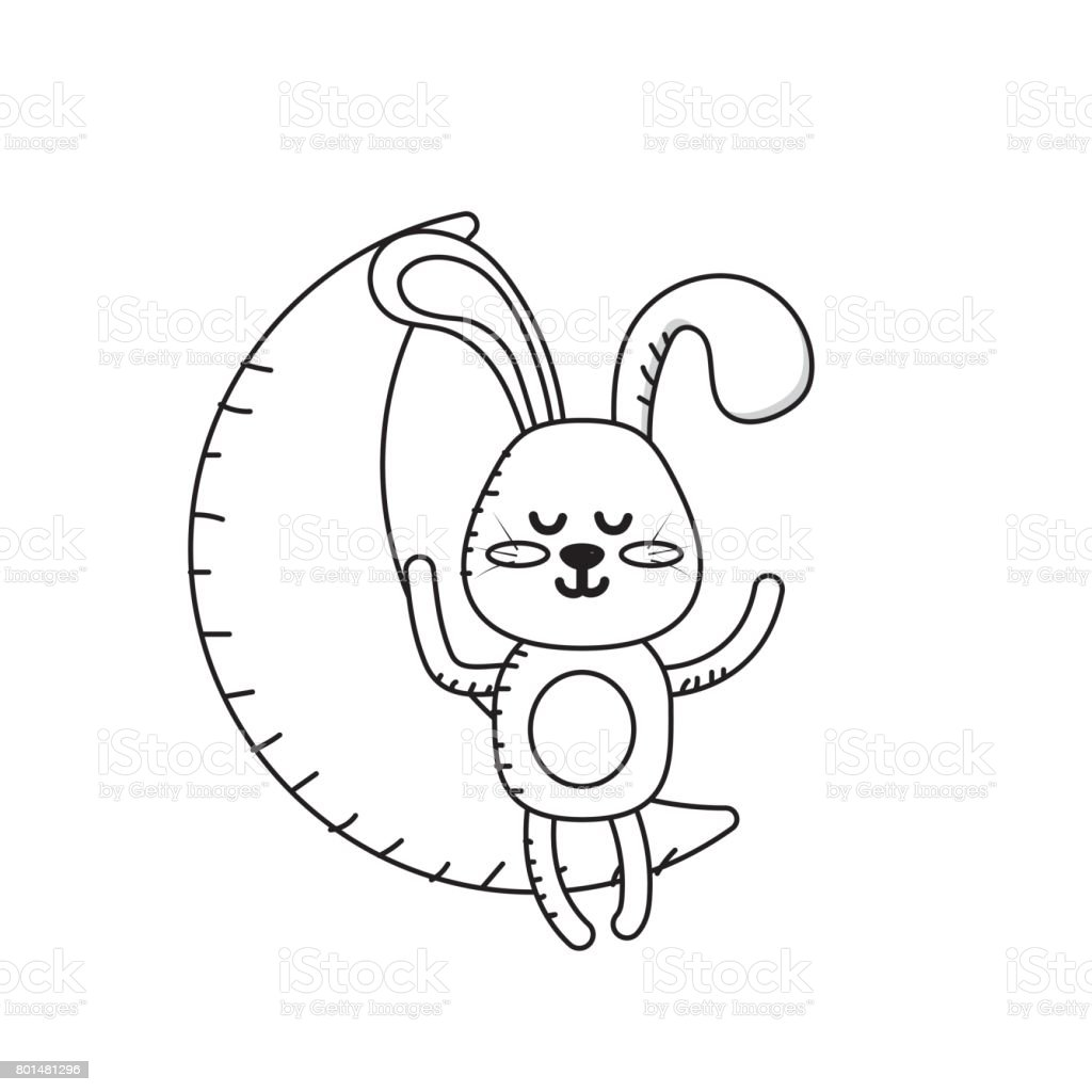 line teddy rabbit seated in the moon vector art illustration