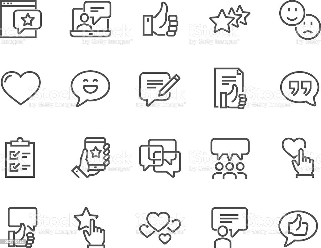 Line Testimonials Icons vector art illustration