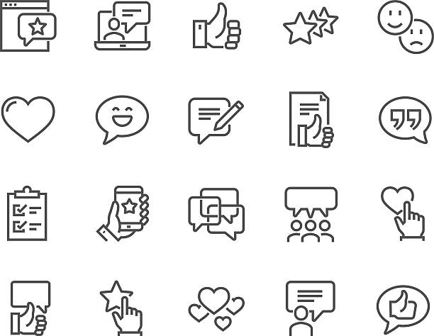 line testimonials icons - cheerful stock illustrations