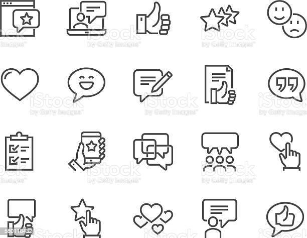 Line Testimonials Icons — стоковая векторная графика и другие изображения на тему Бизнес