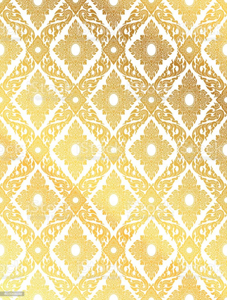 Line Thai, gold color tradition seamless pattern background vector art illustration