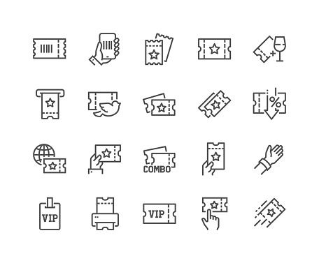 Simple Set of Tickets Related Vector Line Icons.  Contains such Icons as Early Bird, Combo offer, Mobile Ticket and more. Editable Stroke. 48x48 Pixel Perfect.