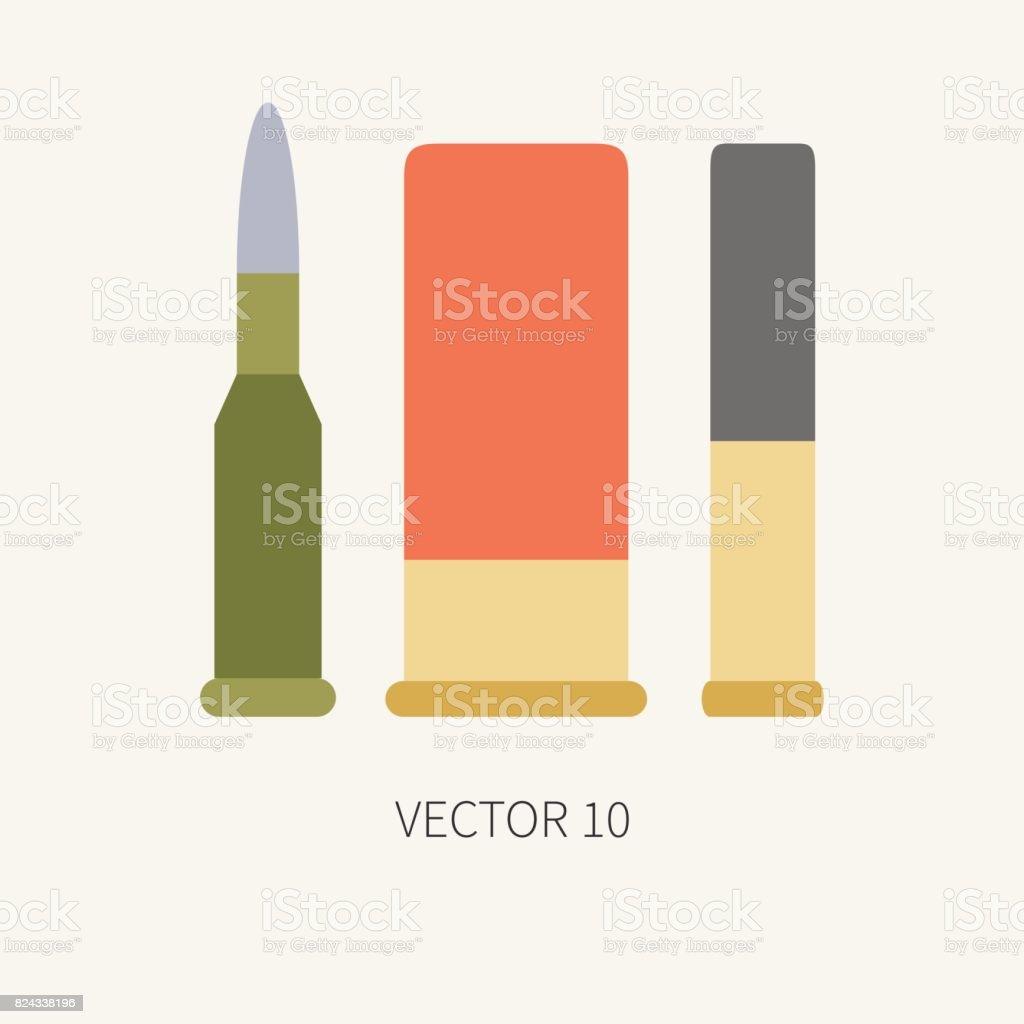Línea azulejo color vector caza y camping cartucho icono sistema. Equipo de  Hunter c654deead06