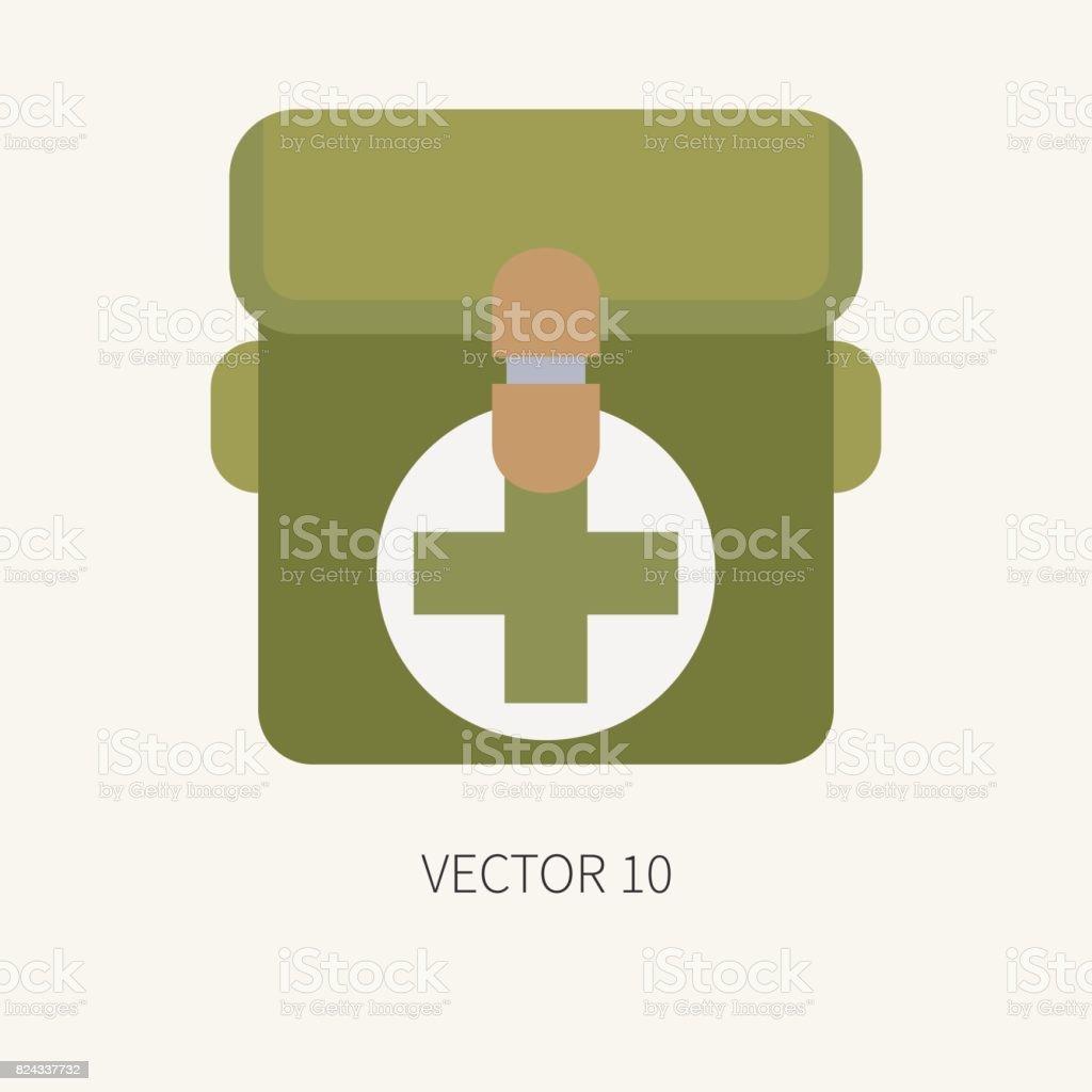 Línea azulejo color vector caza y camping icono primeros auxilios pecho.  Equipo de Hunter 4bcb00ebe29