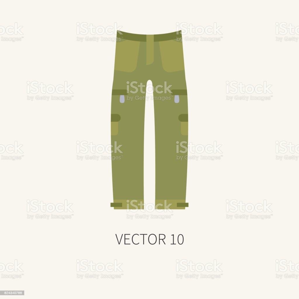 Azulejo de la línea color vector caza y camping icono pantalones color  caqui. Equipo de 2c5465a503a