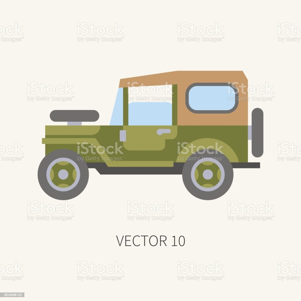Línea azulejo color vector caza y camping icono de coche de carretera.  Equipo de Hunter b30bd4379a4