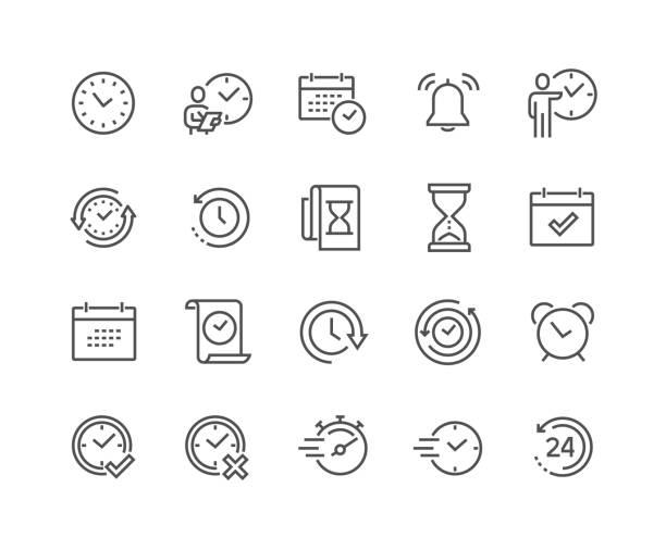 ikony czasu wiersza - czas stock illustrations