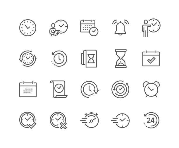 stockillustraties, clipart, cartoons en iconen met lijn tijd pictogrammen - line art