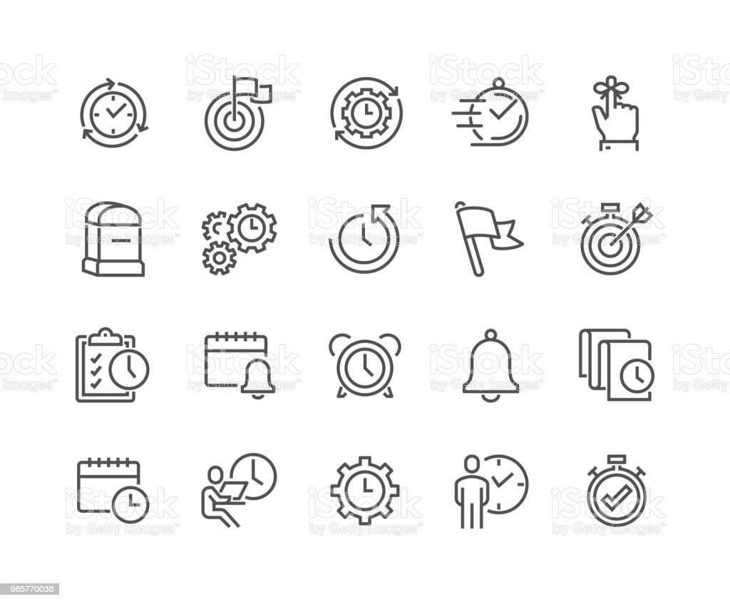Line Time Management Icons vector art illustration