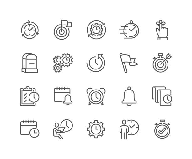Line Time Management Icons Simple Set of Time Management Related Vector Line Icons. Contains such Icons as Milestone, Reminder, Goal, Working Hours and more. Editable Stroke. 48x48 Pixel Perfect. agenda stock illustrations