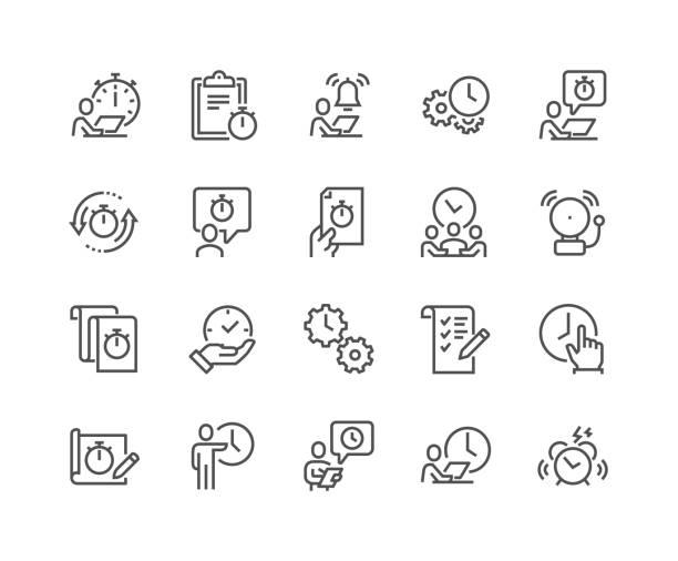 linie-zeit-management-symbole - büro zukunft und niemand stock-grafiken, -clipart, -cartoons und -symbole