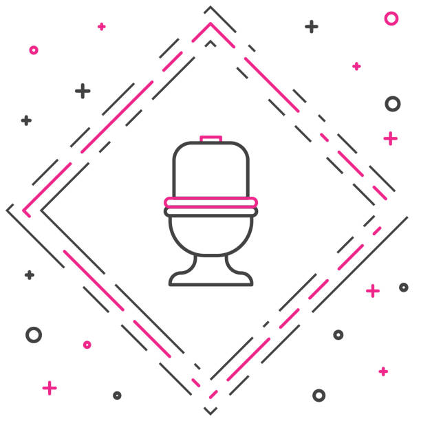 Line Toilet bowl icon isolated on white background. Colorful outline concept. Vector Illustration Line Toilet bowl icon isolated on white background. Colorful outline concept. Vector Illustration flushing toilet stock illustrations