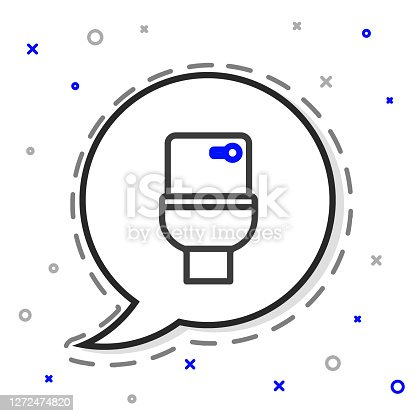 istock Line Toilet bowl icon isolated on white background. Colorful outline concept. Vector 1272474820