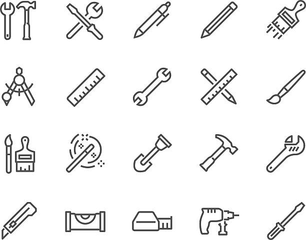 line tools icons - hammer stock-grafiken, -clipart, -cartoons und -symbole