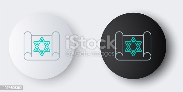 istock Line Torah scroll icon isolated on grey background. Jewish Torah in expanded form. Star of David symbol. Old parchment scroll. Colorful outline concept. Vector 1297606382