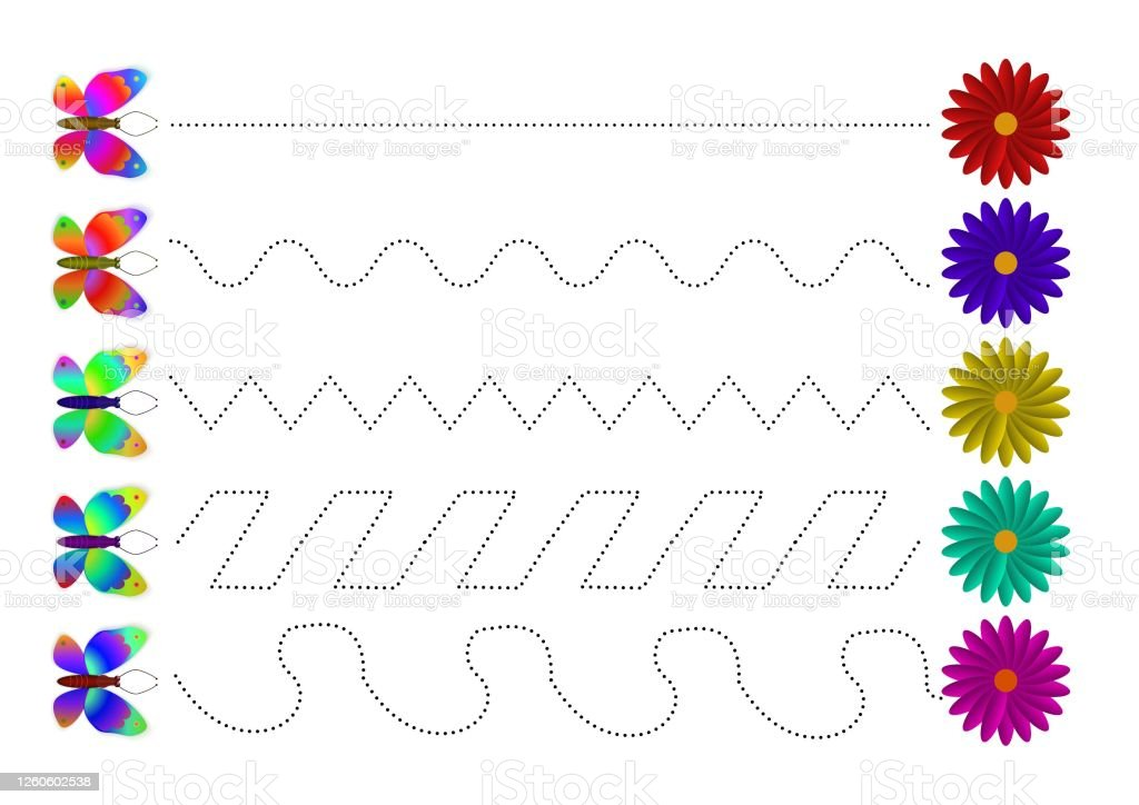 A Line Tracing Sheet For Preschool Children With Butterflies And Flowers  Draw Waves A Worksheet To Print Educational Childrens Game Stock Vector  Illustration On White Isolated Background Stock Illustration - Download  Image