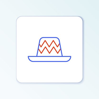 Line Traditional mexican sombrero hat icon isolated on white background. Colorful outline concept. Vector