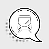 Line Tram and railway icon isolated on grey background. Public transportation symbol. Colorful outline concept. Vector.