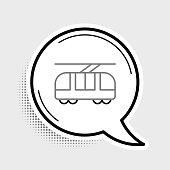 Line Tram and railway icon isolated on grey background. Public transportation symbol. Colorful outline concept. Vector