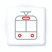 Line Tram and railway icon isolated on white background. Public transportation symbol. Colorful outline concept. Vector
