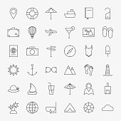 Line Travel Icons Big Set. Vector Set of 36 Summer Holiday Seasonal Tourism Modern Thin Line Icons for Web and Mobile