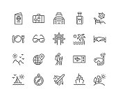 Simple Set of Travel Related Vector Line Icons. \nContains such Icons as Luggage, Passport, Sunglasses and more.\nEditable Stroke. 48x48 Pixel Perfect.