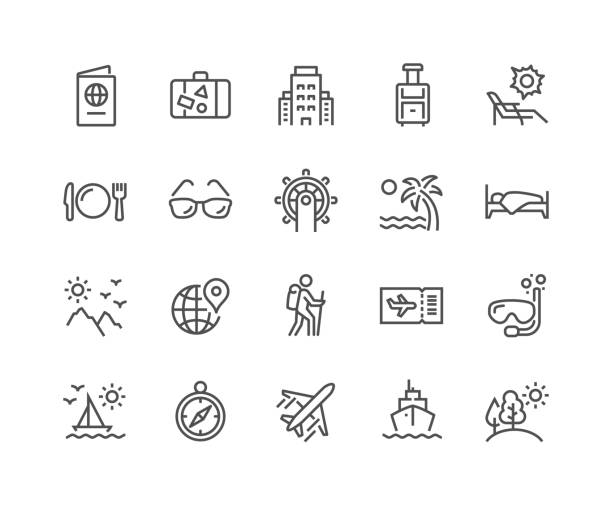 line travel icons - palm tree stock illustrations