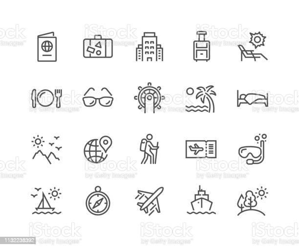 Иконки Путешествия Линии — стоковая векторная графика и другие изображения на тему Авиабилет