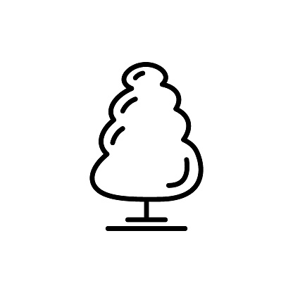 Line tree icon isolated on white background. Minimalistic outline style. Vector illustration.