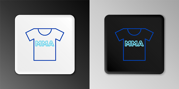 Line T-shirt with fight club MMA icon isolated on grey background. Mixed martial arts. Colorful outline concept. Vector