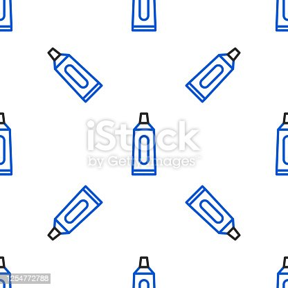 istock Line Tube of toothpaste icon isolated seamless pattern on white background. Colorful outline concept. Vector 1254772788
