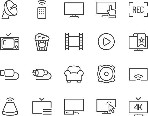 ilustrações de stock, clip art, desenhos animados e ícones de line tv icons - video