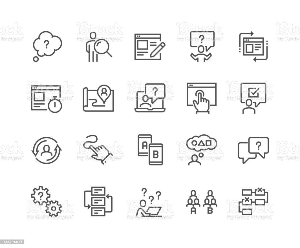 Linie UI und UX-Symbole – Vektorgrafik