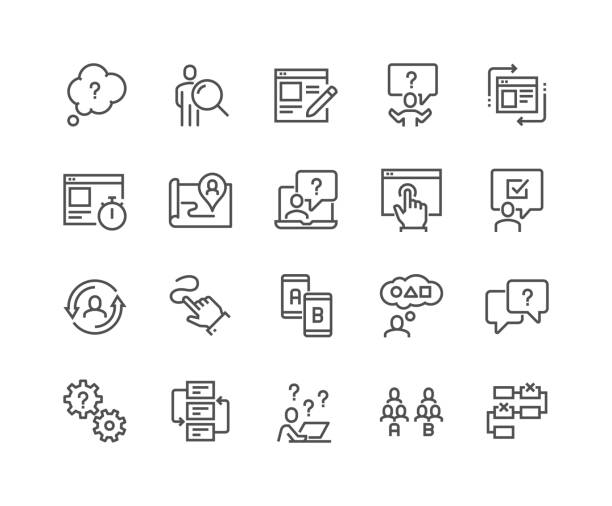 Line UI and UX Icons Simple Set of UX Related Vector Line Icons. Contains such Icons as User Flow, Journey Map, A-B Testing and more. Editable Stroke. 48x48 Pixel Perfect. storytelling stock illustrations