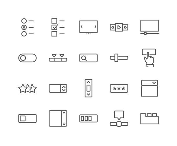 stockillustraties, clipart, cartoons en iconen met lijn ui elementen pictogrammen - exclusief