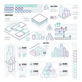 A set of line design-styled, rectangular infographic elements. EPS 10 file, with transparencies, layered & grouped,