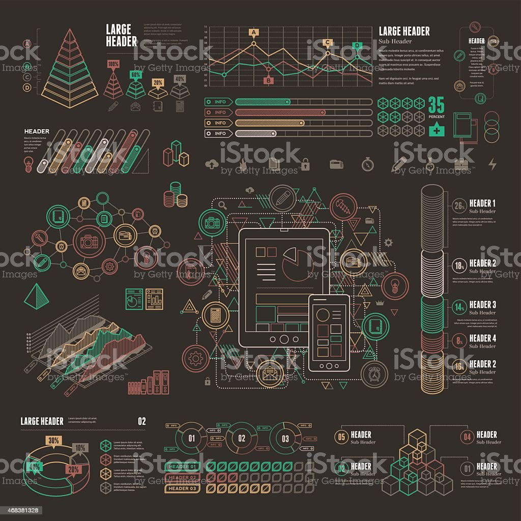 Line UI Infographic Elements vector art illustration