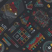 A seamless pattern made of modern infographic elements. EPS 10 file, with transparencies, layered & grouped,