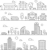 Line urban landscapes. Set of various city buildings. Urban city town linear, building house architecture street. Vector illustration