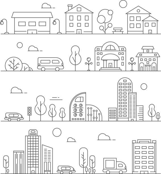 Line urban landscapes. Set of various city buildings Line urban landscapes. Set of various city buildings. Urban city town linear, building house architecture street. Vector illustration cityscape stock illustrations
