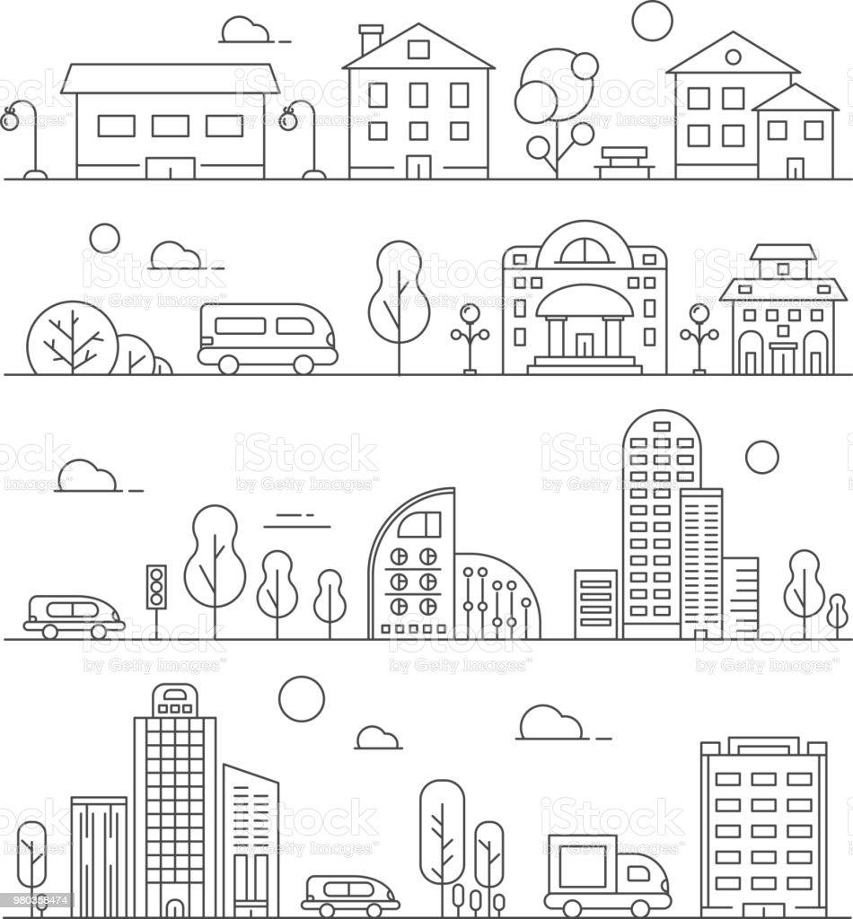 Linha de paisagens urbanas. Conjunto de vários edifícios da cidade - ilustração de arte em vetor