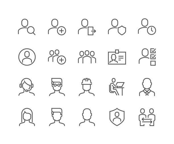 Line Users Icons Simple Set of Users Related Vector Line Icons. Contains such Icons as Male, Female, Profile, Personal Quality and more. Editable Stroke. 48x48 Pixel Perfect. man on computer stock illustrations