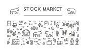 Line vector banner for stock market