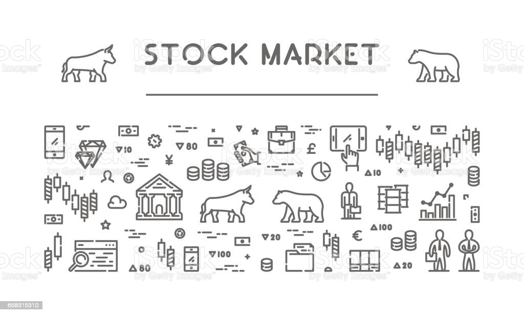 Line vector banner for stock market vector art illustration